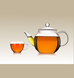 cup and teapot of green tea vector image vector image