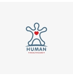 Isolated human silhouette logo with heart vector image vector image