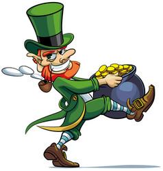 leprechaun stealing pot of golden coins vector image