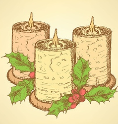 Sketch candle with mistletoe in vintage style vector image vector image