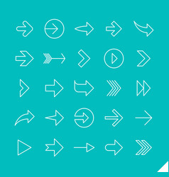 thin linear arrows icons set vector image vector image