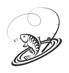 fish and fishing rod jumping silhouette vector image vector image