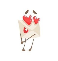 In Love Humanized Letter Paper Envelop Cartoon vector image