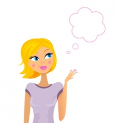 woman thinking on something vector image vector image