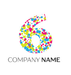 Number six logo with blue yellow red particles vector