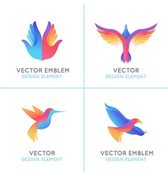 set of abstract gradient emblems vector image