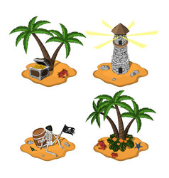 set of tropical islands in cartoon style vector image