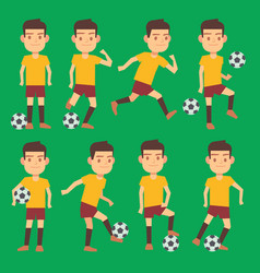 soccer players poses set green field vector image