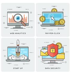web analytics pay per click start up data vector image vector image