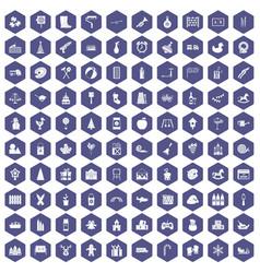 100 preschool education icons hexagon purple vector