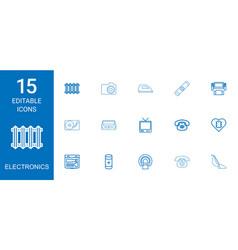 15 electronics icons vector