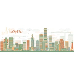 Abstract miami skyline with color buildings vector