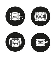 Alcohol wooden barrels icons set vector