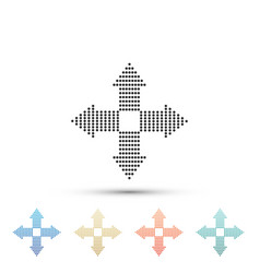 arrows dots in four directions icon isolated vector image
