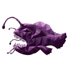 art with stylized anglerfish on white background vector image