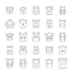 backpack school sport icons set outline style vector image
