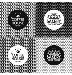 Bakery and cafe seamless patterns and labels vector