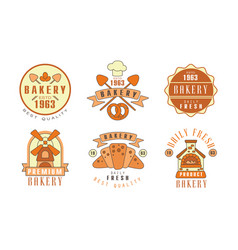 bakery logo design collection fresh bread best vector image