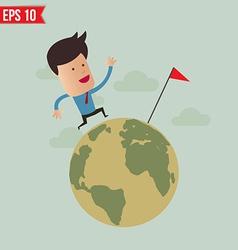 business man run over globe - - eps10 vector image