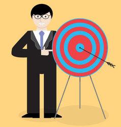 Businessman presentation success right in the bull vector