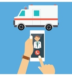 Call ambulance car doctor mobile phone emergency vector