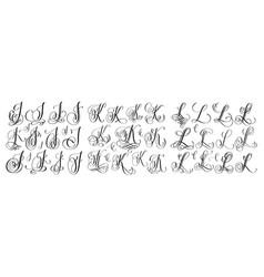 Calligraphy letters set j k and l script font vector