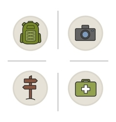 Camping color icons set vector