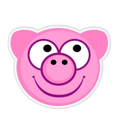 Cartoon cute pink Pig badge vector