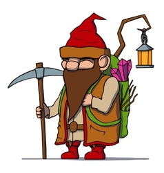 Cartoon dwarf miner vector image