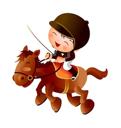 Cartoon equestrian boy vector