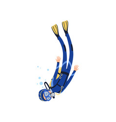 Cartoon man character engaged in scuba diving in vector