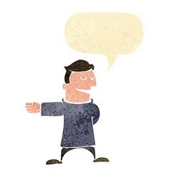 Cartoon man gesturing direction with speech bubble vector