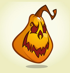 cartoon pumpkin head with an evil expression vector image