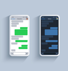 chat app template in dark and light theme on white vector image