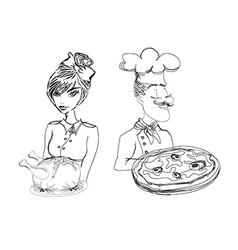 chef with pizza and Waitress serving a chicken vector image
