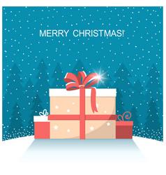 Christmas presents on winter snow landscape vector