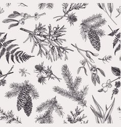 Christmas seamless botanical pattern vector