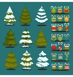 Christmas tree Set of christmas green trees and vector image