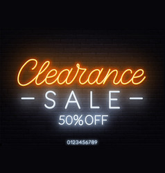 Clearance sale neon sign on dark background vector