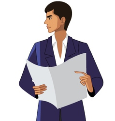 Close-up man holding paper vector
