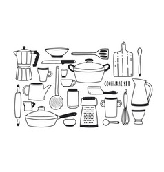 Collection of hand drawn kitchen utensils vector