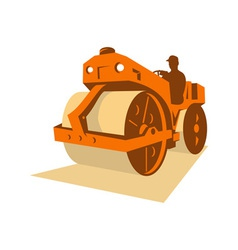 Construction road roller retro vector