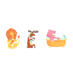 Cute animals bathing isolated on white background vector