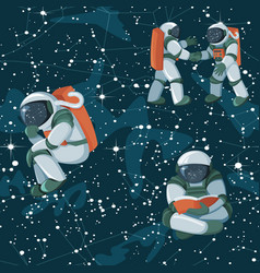 cute funny cosmonaut astronaut spaceman characters vector image
