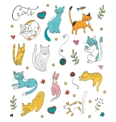 Cute hand drawn cat colorful set vector