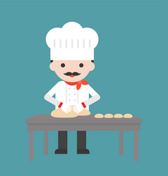 Cute pastry chef threshing flour or kneading vector