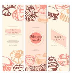 delicious sweets - color hand drawn square vector image