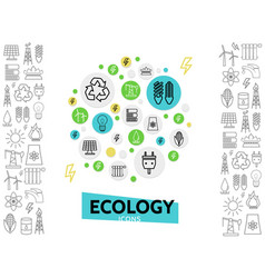 Ecology line icons concept vector