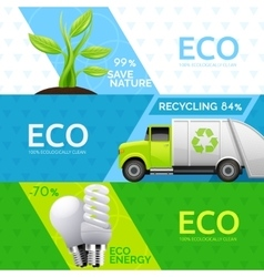 Ecology Nature Recycling Flat Banners Set vector image