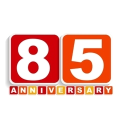 Eighty Five 85 Years Anniversary Label Sign for vector